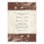 Vintage Brown and White Floral Wedding Invitation