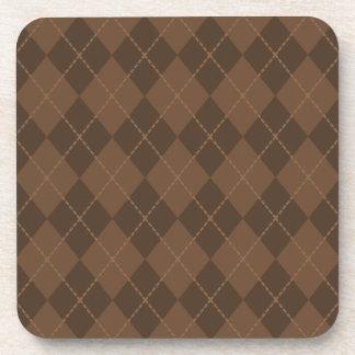 Vintage Brown Argyle Pattern Coasters