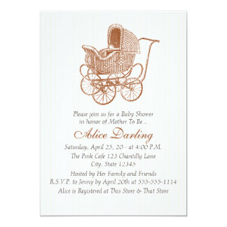 Vintage Brown Baby Carriage Baby Shower Card