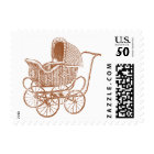 Vintage Brown Baby Carriage Baby Shower Postage