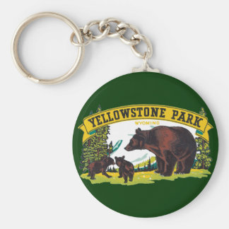 Vintage Brown Bears in Yellowstone National Park Keychain
