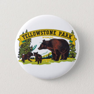 Vintage Brown Bears in Yellowstone National Park Pinback Button