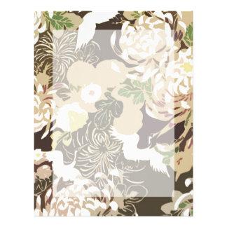 Vintage brown beige flowers and birds letterhead