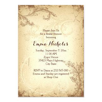Vintage brown beige scroll leaf bridal shower card