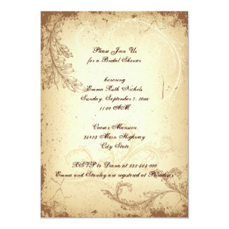Vintage brown beige scroll leaf bridal shower personalized announcements
