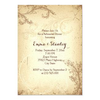 Vintage brown beige scroll leaf rehearsal dinner card