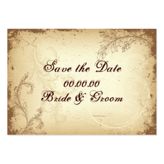 Vintage brown beige scroll leaf Save the Date Large Business Cards (Pack Of 100)