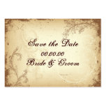 Vintage brown beige scroll leaf Save the Date Business Card