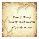 Vintage brown beige scroll leaf Save the Date Invitations