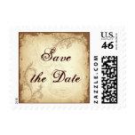 Vintage brown beige scroll leaf Save the Date Stamps