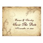 Vintage brown beige scroll leaf Save the Date Postcard