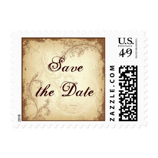 Vintage brown beige scroll leaf Save the Date Stamp
