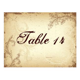 Vintage brown beige scroll leaf table number post cards