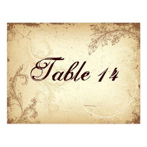 Vintage brown beige scroll leaf table number postcard