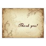 Vintage brown beige scroll leaf Thank You greeting Card