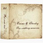 Vintage brown beige scroll leaf wedding binder