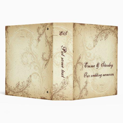 Vintage brown beige scroll leaf wedding binder binder