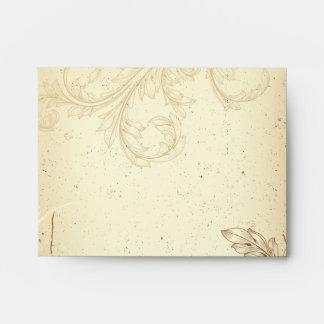 Vintage brown beige scroll leaf wedding envelope