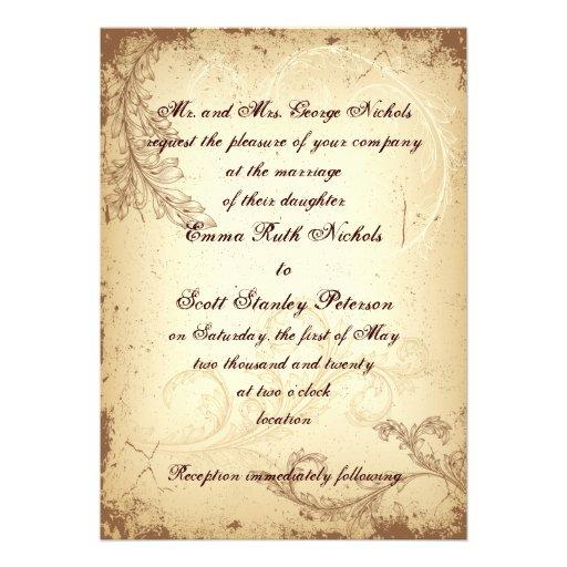 Beige Scroll Leaf Wedding Invitation 5 X 7 Invitation Card