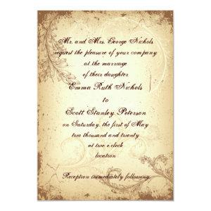 Vintage brown beige scroll leaf wedding invitation 5
