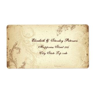 Vintage brown beige scroll leaf wedding label