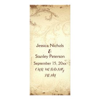 Vintage brown, beige scroll leaf wedding menu card rack card template