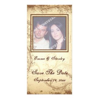Vintage brown beige scroll leaf wedding photo card
