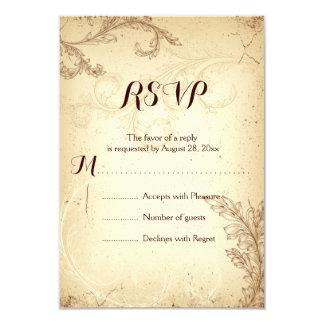 Vintage brown beige scroll leaf wedding RSVP Card