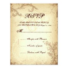 Vintage brown beige scroll leaf wedding RSVP card 4.25
