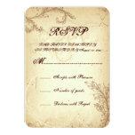 Vintage brown beige scroll leaf wedding RSVP Personalized Invite