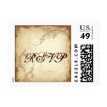 Vintage brown beige scroll leaf wedding RSVP stamp