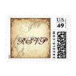 Vintage brown beige scroll leaf wedding RSVP stamp