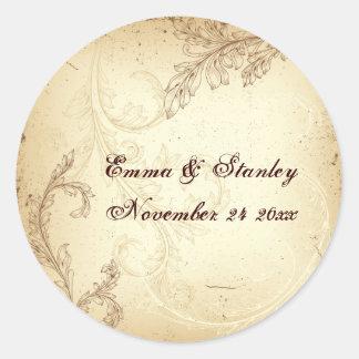 Vintage brown beige scroll leaf wedding sticker