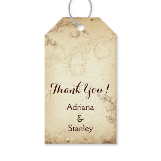 Vintage brown, beige scroll leaf wedding Thank You Gift Tags