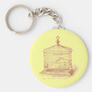 Vintage Brown Bird Cage Basic Round Button Keychain