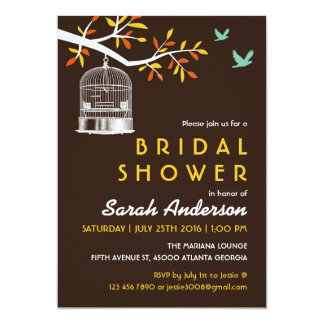 Vintage Brown Bird Cage Bridal Shower Invitation