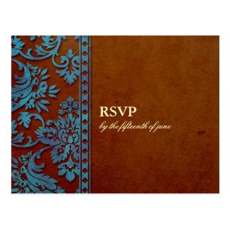 Vintage Brown & Blue Damask Lace Wedding RSVP Postcard