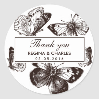 Vintage Brown Butterfly Wedding Thank You Sticker