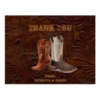 vintage brown cowboy country wedding Thank you Postcard