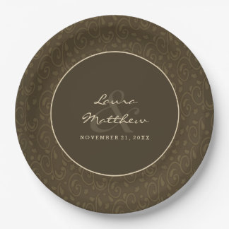 Vintage Brown Custom Matching Wedding Paper Plates
