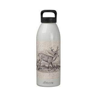 Vintage Brown Cute Deer Old Painting Reusable Water Bottle