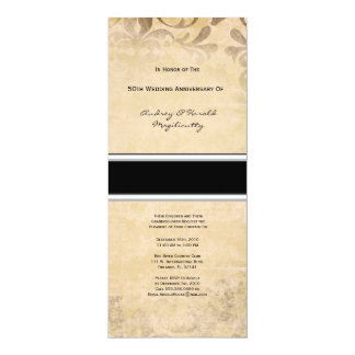 "Vintage Brown Damask Anniversary Party Invitation 4"" X 9.25"" Invitation Card"
