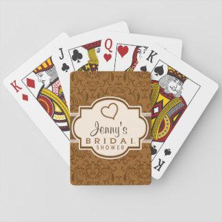 Vintage Brown Damask Bridal Shower Poker Cards