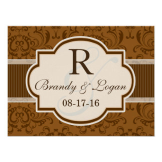 Vintage Brown Damask Wedding Poster