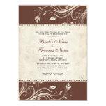 Vintage Brown e invitación floral blanca del boda Invitación 12,7 X 17,8 Cm