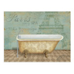 Vintage Brown French Bathtub Postcard