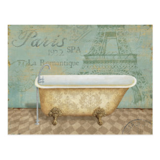 Vintage Brown French Bathtub Postcard
