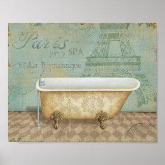 Vintage Brown French Bathtub Poster