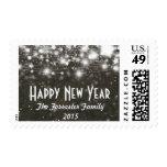 Vintage Brown Glowing Stars Happy New Year 2015 Postage Stamp