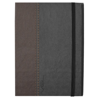 Vintage Brown & Gray Stitched Leather iPad Pro Case